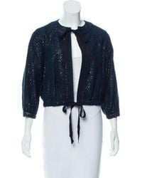 Sachin & Babi - Ribbon-trimmed Lace Jacket Navy - Lyst