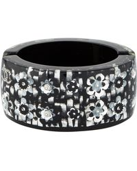 e7887dbe563 Chanel - Crystal   Resin Flower Hinged Cuff Silver - Lyst