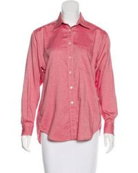 Aquascutum - Long Sleeve Button-up Top Coral - Lyst