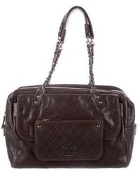 Chanel - Caviar Pocket In The City Carryall Silver - Lyst
