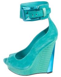 Brian Atwood - Suede Peep-toe Wedges - Lyst