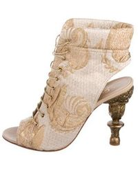 Chanel - Brocade Lace-up Ankle Boots Gold - Lyst