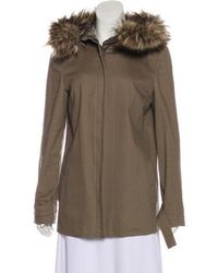 L'Agence - Faux-fur Trimmed Hooded Coat - Lyst
