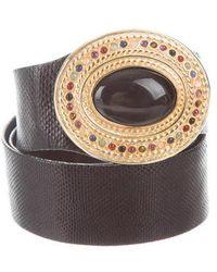 Judith Leiber - Lizard Embellished Belt Black - Lyst