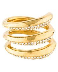 66b672d858ed6 Lyst - Michael Kors Rose Gold-tone Logo Plate Ring in Metallic