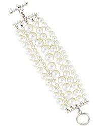 Kenneth Jay Lane - Faux Pearl Multistrand Bracelet Silver - Lyst