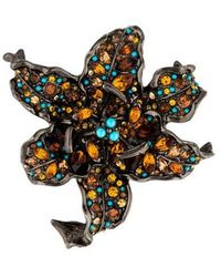 Kenneth Jay Lane - Crystal Lily Brooch Silver - Lyst