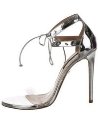 Ruthie Davis - Leather Ankle Strap Sandals Silver - Lyst