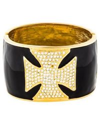 Kenneth Jay Lane - Crystal & Enamel Maltese Hinged Cuff Gold - Lyst