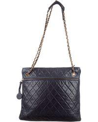 Chanel - Vintage Lambskin Shoulder Tote Blue - Lyst