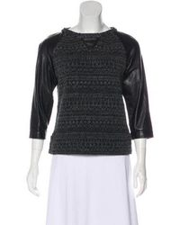 Gryphon - Leather Trimmed Crew Neck Sweater Black - Lyst
