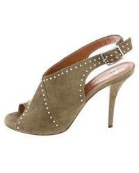 Givenchy - Stud-embellished Suede Peep-toe Pumps Olive - Lyst