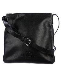 Loewe - Logo Leather Messenger Black - Lyst