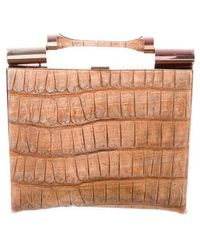 John Galliano - Embossed Leather Clutch Bronze - Lyst