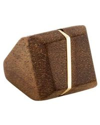 Kara Ross - 18k Maple Wood Square Ring Yellow - Lyst
