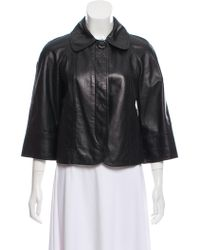 Michael Kors - Rounded Collar Leather Jacket - Lyst