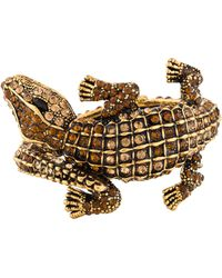 Kenneth Jay Lane - Embellished Alligator Cuff Gold - Lyst