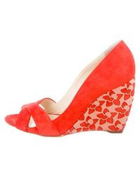 Rupert Sanderson - Laser-cut Suede Wedges Orange - Lyst