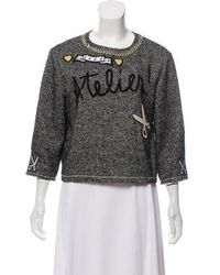 Boutique Moschino - Wool Twill Patchwork Top Grey - Lyst