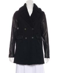 Current/Elliott - Leather-accented Double-breasted Coat W/ Tags Black - Lyst