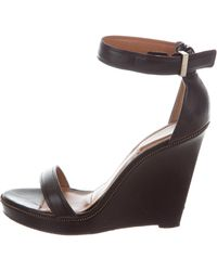 Givenchy - Leather Ankle Strap Wedges Black - Lyst
