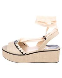 Paul Andrew - Raffia Slingback Wedges Tan - Lyst