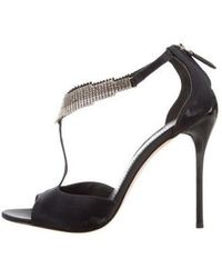 B Brian Atwood - Embellished Satin Sandals - Lyst