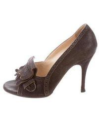 John Galliano - Leather Peep-toe Pumps - Lyst