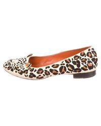 56546a138c737f Lyst - Charlotte Olympia Beige Leopard Print Feral Flats in Natural