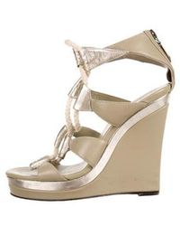 Diane von Furstenberg - Leather Wedge Sandal Beige - Lyst