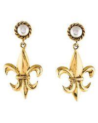 Moschino - Faux Pearl Fleur De Lis Drop Earrings Gold - Lyst