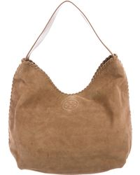 Tory Burch - Suede Marion Hobo Tan - Lyst