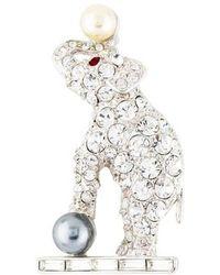 Kenneth Jay Lane - Crystal & Faux Pearl Elephant Brooch Silver - Lyst