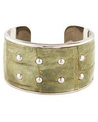 Tod's - Studded Crocodile Leather Cuff Silver - Lyst