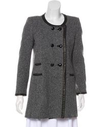 Isabel Marant - Leather-trimmed Wool Coat Grey - Lyst