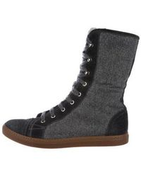 Brunello Cucinelli - Fur-trimmed High-top Sneakers Grey - Lyst