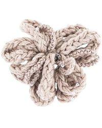 Brunello Cucinelli - Fabric & Crystal Floral Brooch Silver - Lyst