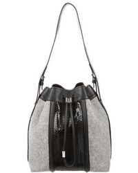 Alexander Wang - Snakeskin-trimmed Wool Prisma Bucket Bag Grey - Lyst
