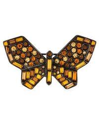 Kenneth Jay Lane - Crystal Butterfly Brooch Silver - Lyst