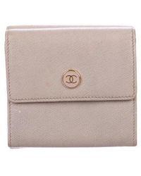 Chanel - Leather Cc Compact Wallet Mauve - Lyst