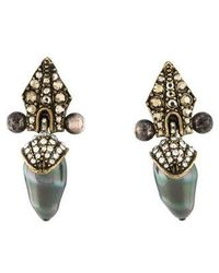 Lanvin - Faux Pearl, Marcasite & Crystal Clip-on Earrings Gold - Lyst
