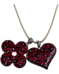 Louis Vuitton - Red Leopard Print Painted Ceramic Pendant Necklace Silver - Lyst