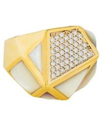 Kara Ross - 18k Diamond & Mother Of Pearl Ring Yellow - Lyst