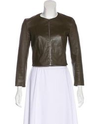 The Row - Cropped Leather Jacket - Lyst