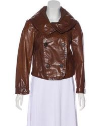 Donna Karan - Double-breasted Leather Jacket - Lyst