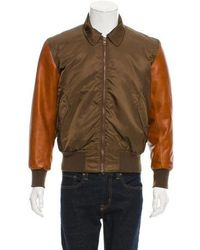 Givenchy - Leather-trimmed Flight Jacket Olive - Lyst