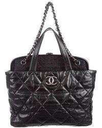 080aadeb554c Lyst - Chanel Precious Symbols Needlepoint Tote Black in Metallic