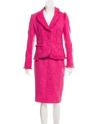 Boutique Moschino - Wool Tweed Knit Skirt Suit - Lyst