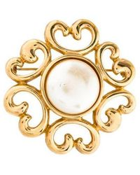 Givenchy - Faux Pearl Brooch Gold - Lyst