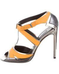 Prabal Gurung - Snakeskin-trimmed Peep-toe Pumps Orange - Lyst